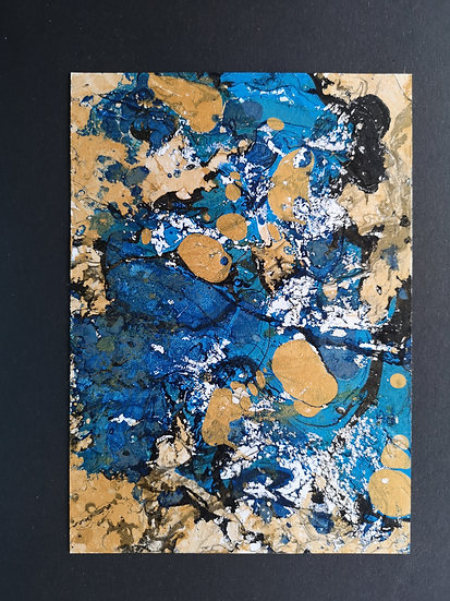 Ink Print: Black, blue and gold on black card