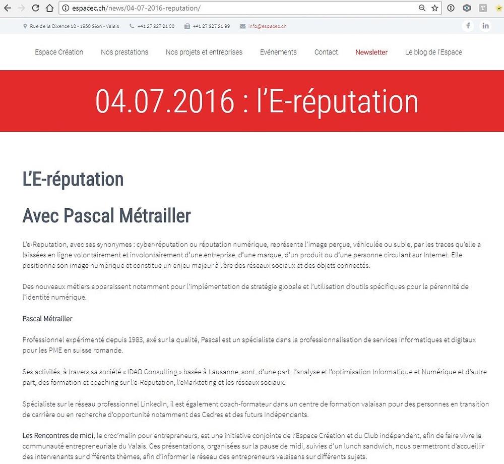 Conférence eReputation Pascal Métrailler Espace Création Sion