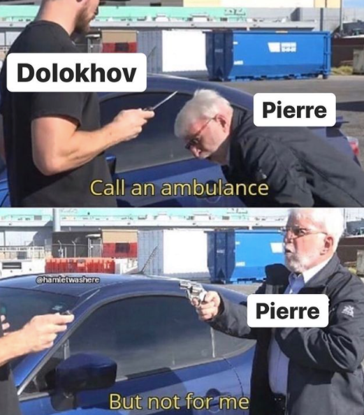 A meme depicting the duel between Dolokhov and Pierre from the book War and Peace.