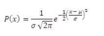 Equation describing normal distribution