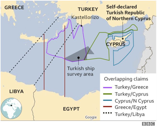 Greece and Turkey have overlapping claims in the Eastern Mediterranean