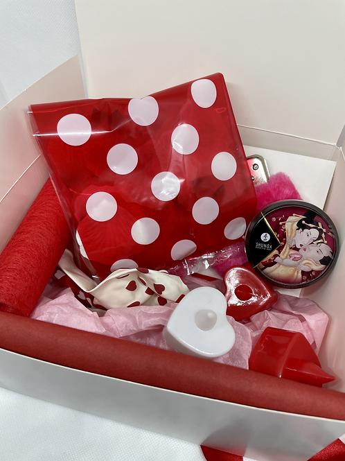 """BOX """"LE DINER DE CUPIDON""""BOUGIE CHAMPAGNE/FRAISE"""