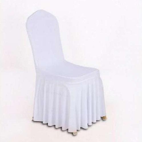 Housse de chaise blanche universelle avec juponnage