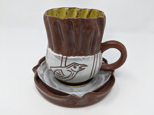 Close to home, bird cup and saucer set, holds around 14 oz, one of two