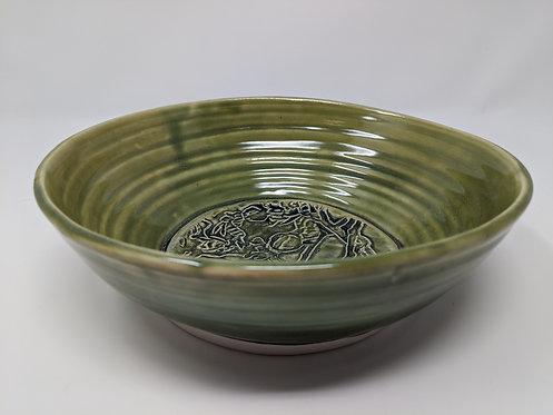 Green Celadon serving bowl, Botanical,  holds ~ 36 ounces