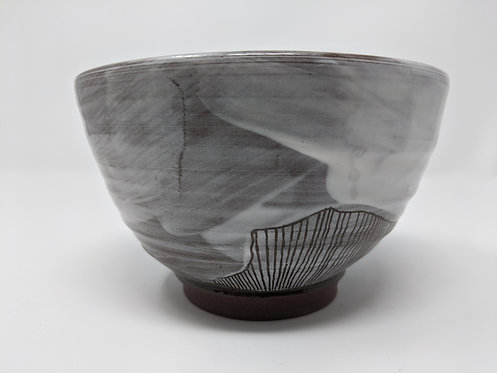 Cloud bowl with porcelain slip, holds around 16 oz