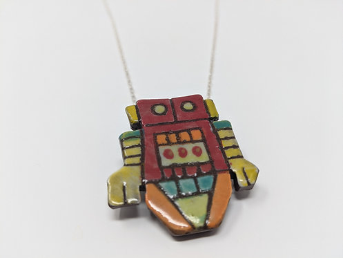 Red Robot Necklace, 24 inch chain