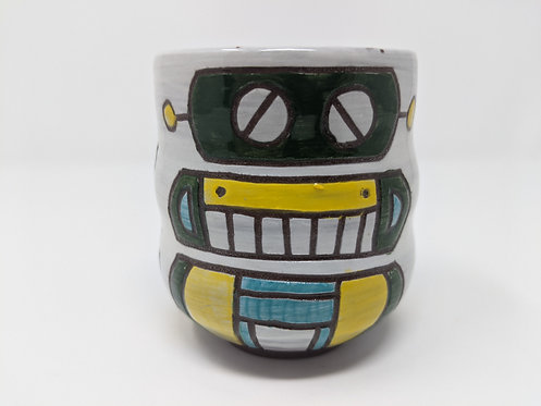 Green Robot Mug, holds ~ 12 ounces