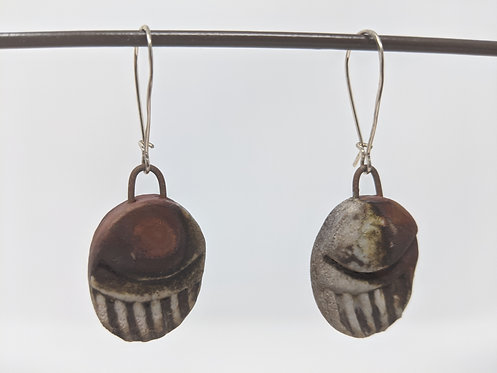 🔥 wood fired earrings, around 2 inches tall