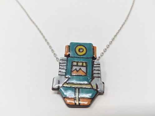 Turquoise Robot Necklace, 26 inch chain