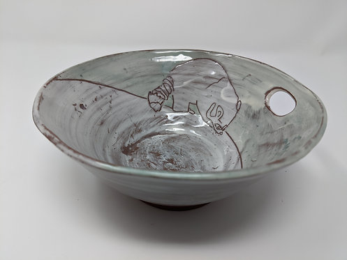 Close to Home, raccoon serving bowl with thumb hole, holds ~ 12 ounces