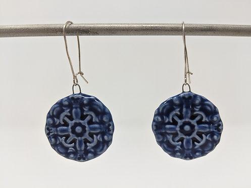 Cobalt medallion earrings