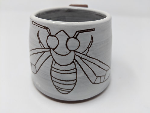 Bee and blue flower mug, holds around 10 oz