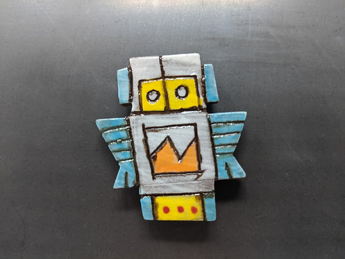 White Bot with Yellow Mask Magnet