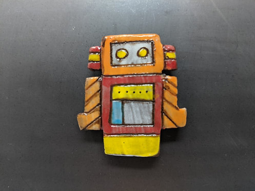 Orange Striped Robot Magnet