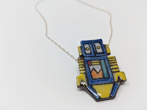 Blue Bot Necklace, 20 inch chain