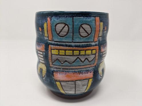 Blue Robot Tumbler, holds ~ 14 ounces