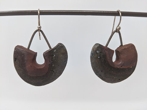 🔥 wood-fired earrings, one and a half inches tall