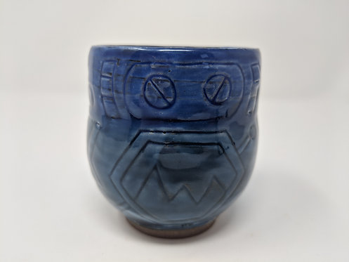 🤖 Cobalt blue robot mug, holds around 10 oz