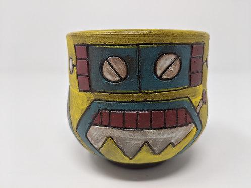 Yellow Robot Mug, holds ~ 10 ounces