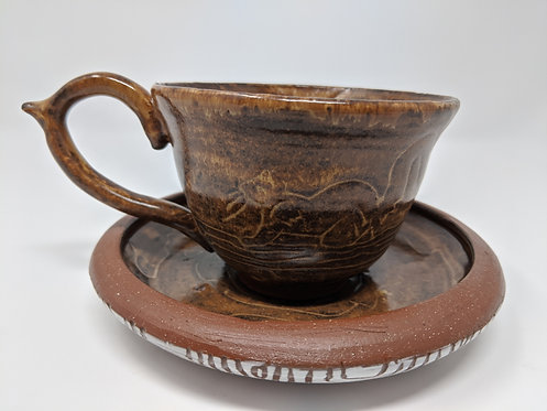Close to Home, Squirrel teacup and saucer, holds ~ 8 ounces