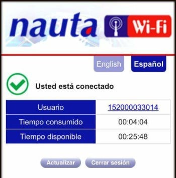 A screenshot of the Nauta connection service with the account number, time consumed and time remaining