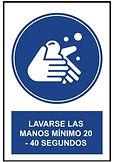 Señalética Lavarse las manos mínimo 20 a 40 segundos