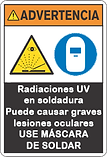 Advertencia Radiación UV en soldadura