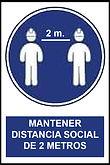 Señalética Mantener distancia social de 2 metros