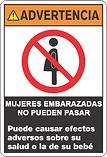 Advertencia mujeres embarazadas no pueden entrar