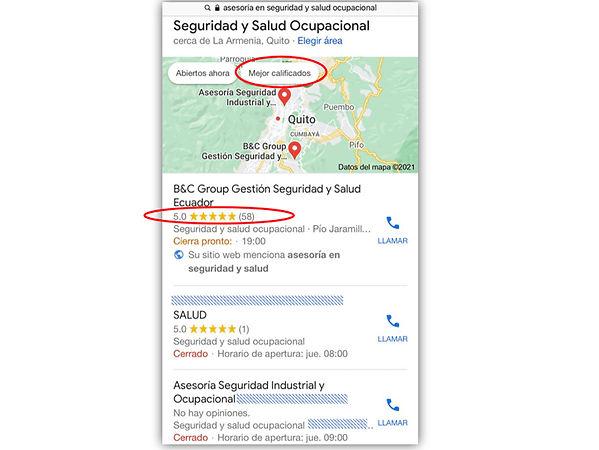 Calificación 5 estrellas calidad servici