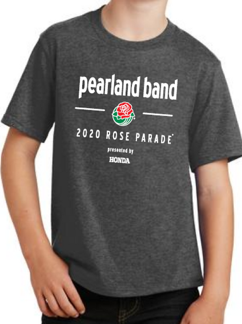 Pearland Band Rose Parade® Official Full Front Logo Dark Heather T-Shirt-YOUTH