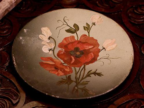 ציור שמן מקורי על צלוחית מפח