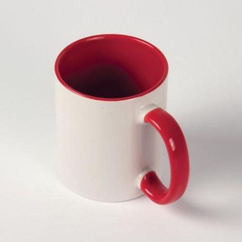 Кружка белая ПРЕМИУМ  красная внутри и ручка