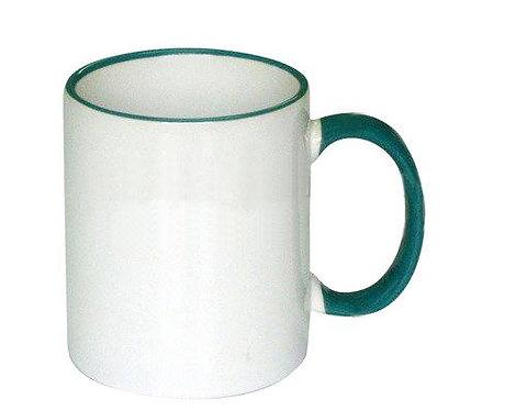 Кружка белая ПРЕМИУМ с темно-зеленым ободком и ручкой