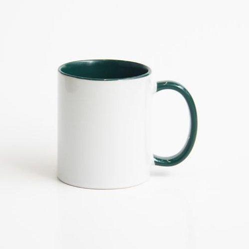 Кружка белая ПРЕМИУМ  темно-зеленая внутри и ручка