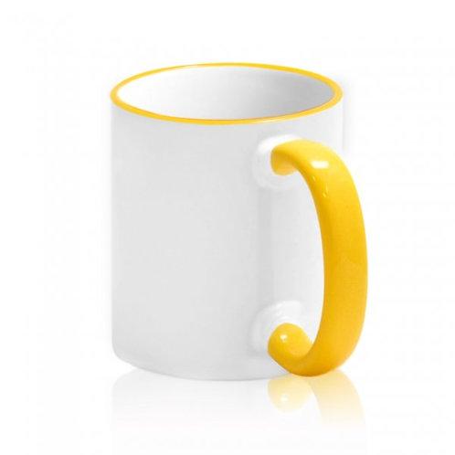 Кружка белая ПРЕМИУМ с желтым ободком и ручкой