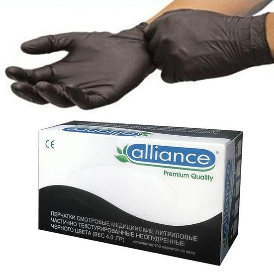 """Перчатки """"Черные нитриловые Alliance"""" L (8-9)"""
