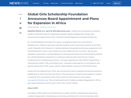 Global Girls Scholarship Foundation Announces Board Appointment and Plans for Expansion in Africa