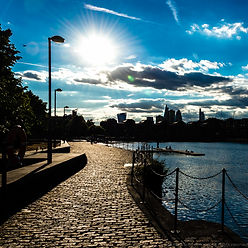 London backlit skyline