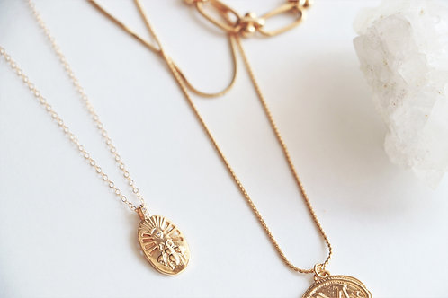 14k Bee Medallion Necklace