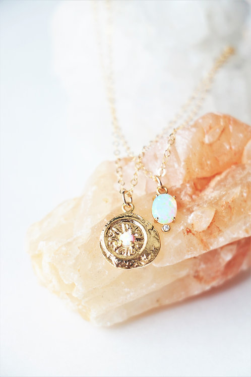 14k Gold Opal Necklaces