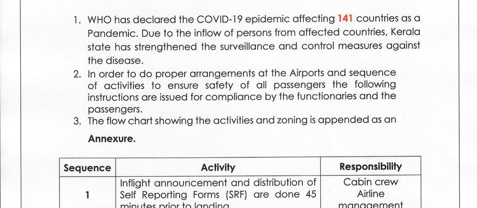 COVID-19 SEQUENCE OF ACTIVITIES AT ARRIVAL GATES AT THE AIRPORTS & ROLES AND RESPONSIBILITIES