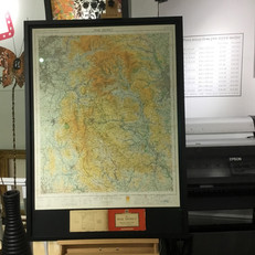 OS map dry mounted, floated and framed in artglass