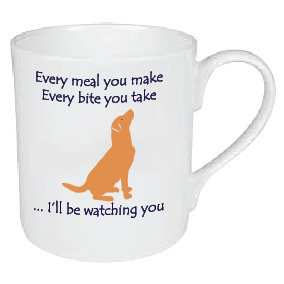 SMALL (£7.50) OR LARGE (£12.95) HUNGRY FIRE FOX RED LABRADOR MUG