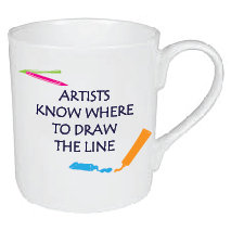 ARTISTS KNOW WHERE TO DRAW THE LINE MUG