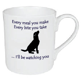 SMALL (£7.50) OR LARGE (£12.95) HUNGRY BLACK LABRADOR DOG MUG