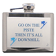 Funny skiing hipflask