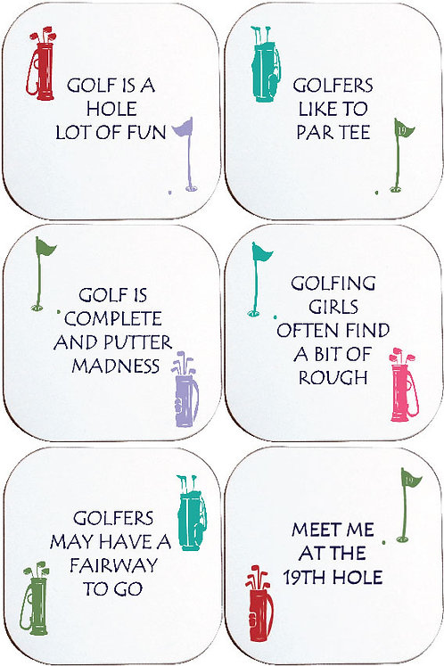 BOXED SET OF 6 GOLF COASTERS