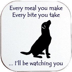 HUNGRY BLACK LABRADOR DOG COASTER